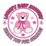 Personalised Pink Teddy Baby Shower Party Stickers